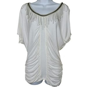 Monoreno dolman sleeve side pleat top Medium